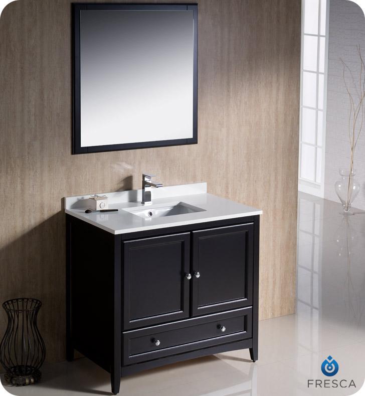. Fresca Oxford 36 quot  Traditional Bathroom Vanity Espresso Finish