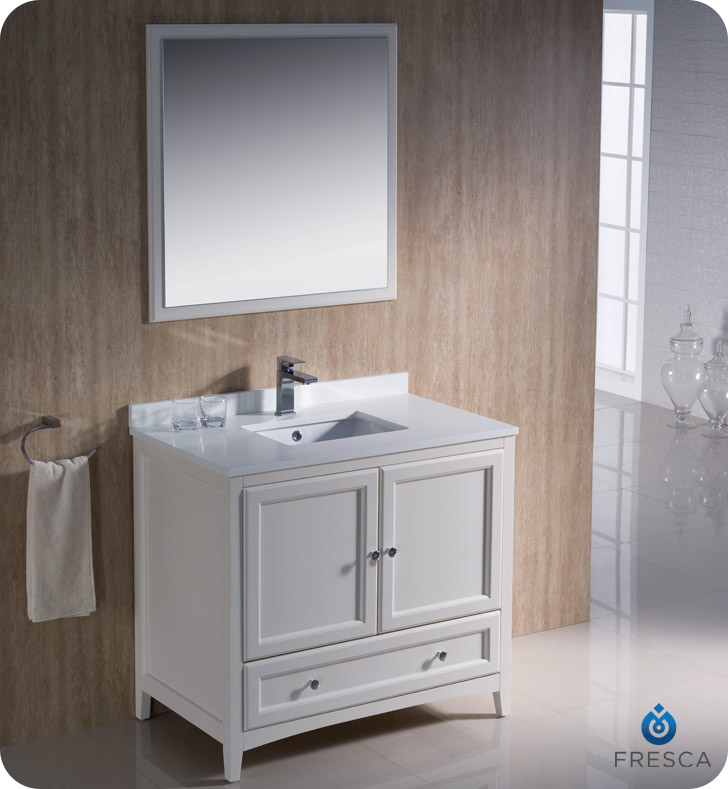 fresca oxford 36 traditional bathroom vanity antique white finish