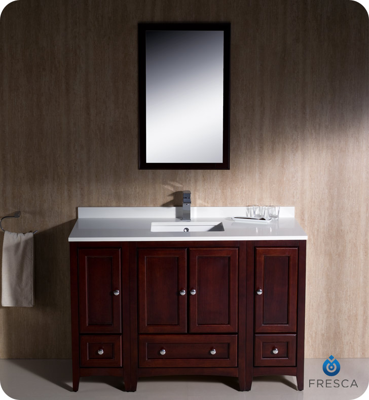 Fresca oxford 48 traditional bath vanity mahogany finish
