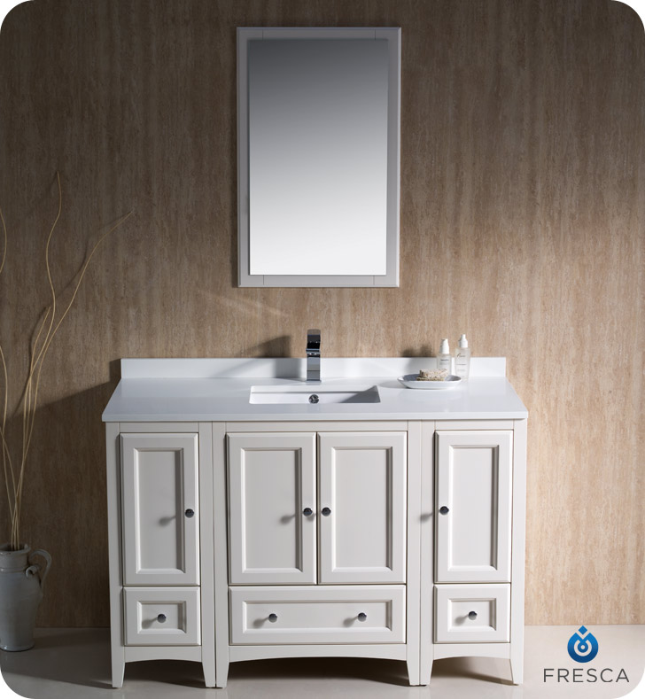 Fresca Oxford 48  Bathroom Vanity Antique White Finish. Fresca Oxford 48  Traditional Bathroom Vanity Antique White Finish