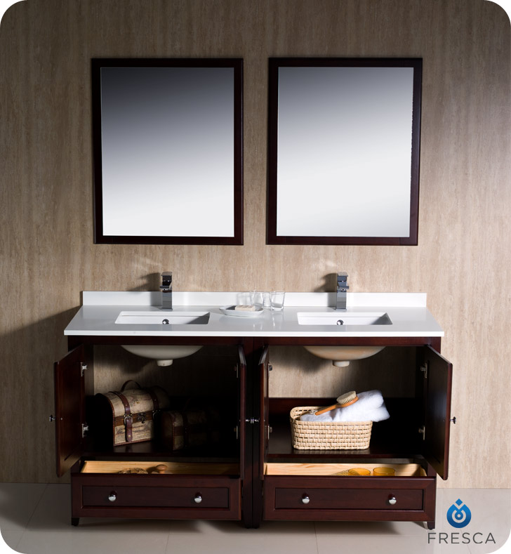 Fresca Oxford 60 quot  Double Sink Bathroom Vanity Mahogany Finish. Oxford 60 quot  Double Sink Bathroom Vanity Mahogany Finish