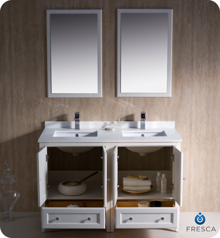 48 in double sink bathroom vanity fresca oxford collection 48 quot antique white traditional 24768