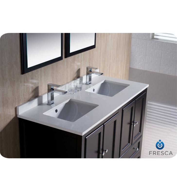"fresca oxford 48"" double sink bathroom vanity espresso finish"