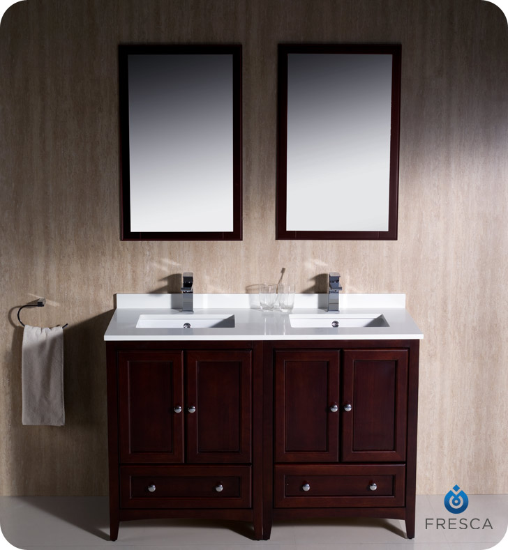 White Double Sink Bathroom Vanity Cabinets