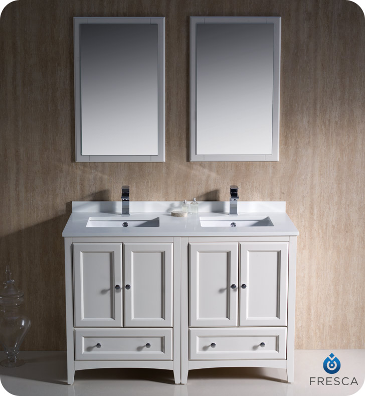 Fresca Oxford 48 Double Sink Bathroom Vanity Antique White Finish