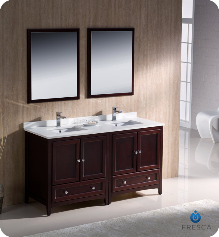 Oxford Double Sink Bathroom Vanity Mahogany Finish