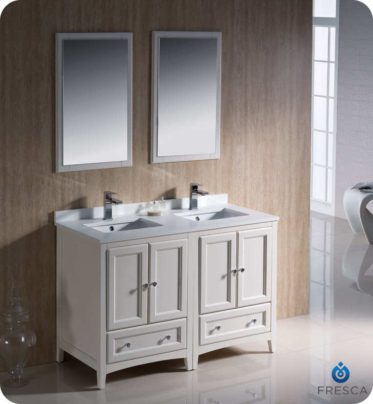 Fresca Oxford Collection 48 Antique White Traditional Double Sink Bathroom Vanity With Top Faucet And Linen Cabinet Option