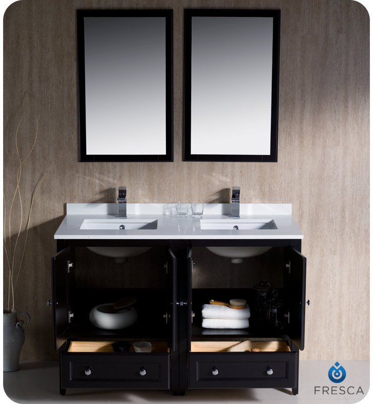 fresca oxford 48 double sink bathroom vanity espresso finish. Black Bedroom Furniture Sets. Home Design Ideas