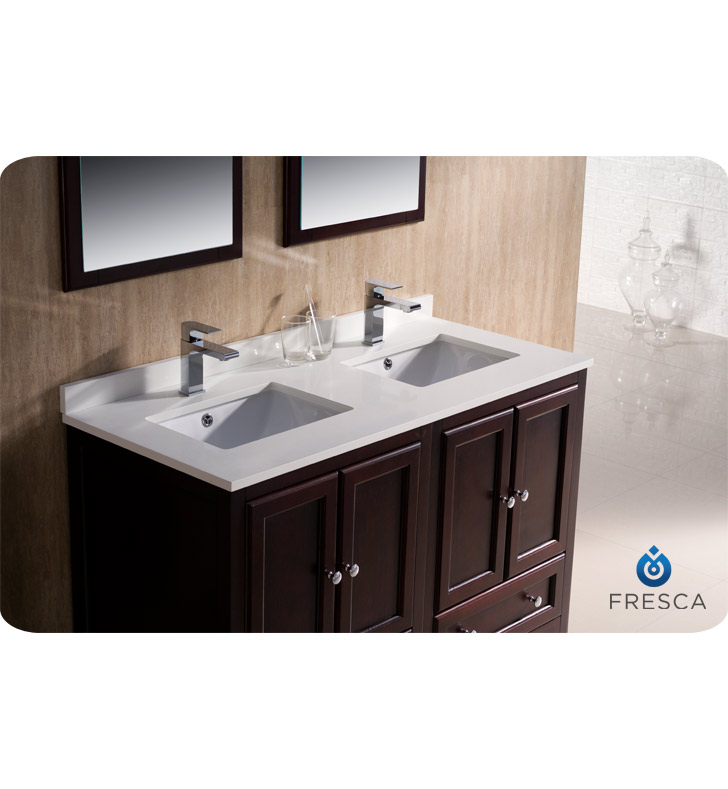 . Fresca Oxford 48 quot  Double Sink Bathroom Vanity Mahogany Finish