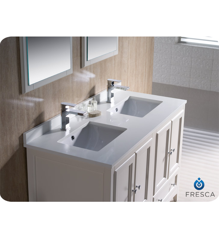 . Fresca Oxford 48 quot  Double Sink Bathroom Vanity Antique White Finish
