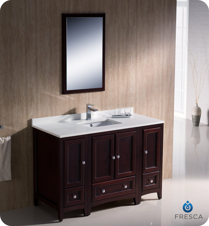 Fresca oxford 48 traditional bathroom vanity mahogany finish for Bathroom cabinets traditional