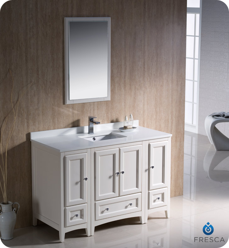 Fresca oxford 48 traditional bathroom vanity antique for Traditional white cabinets