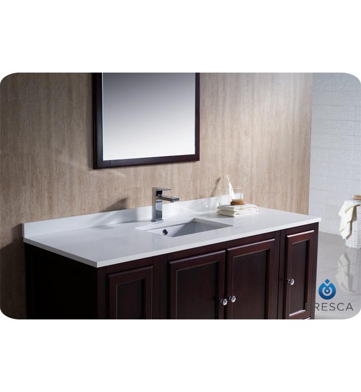 Fresca Oxford 54 Traditional Bathroom Vanity Mahogany Finish Two Side Cabinets