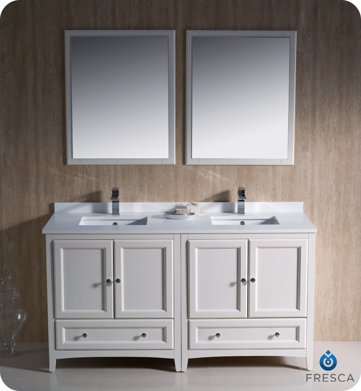 Fresca oxford 60 double sink bathroom vanity antique for Antique white double sink bathroom vanities