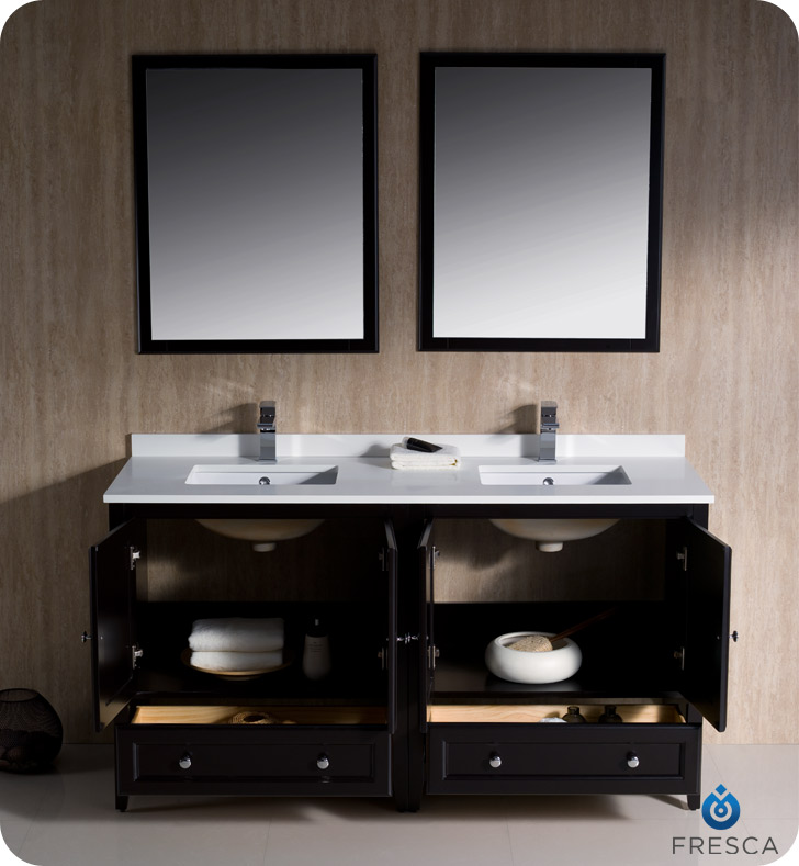 60 Espresso Traditional Double Bathroom Vanity With Top Sink Faucet And Linen Cabinet Option