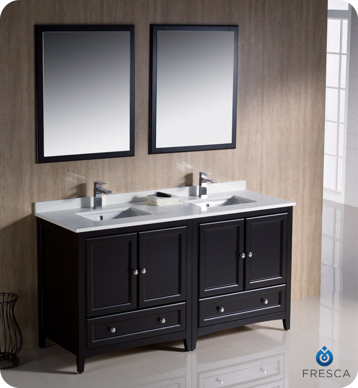 bathroom vanities 60 double sink fresca oxford collection 60 quot espresso traditional 22454