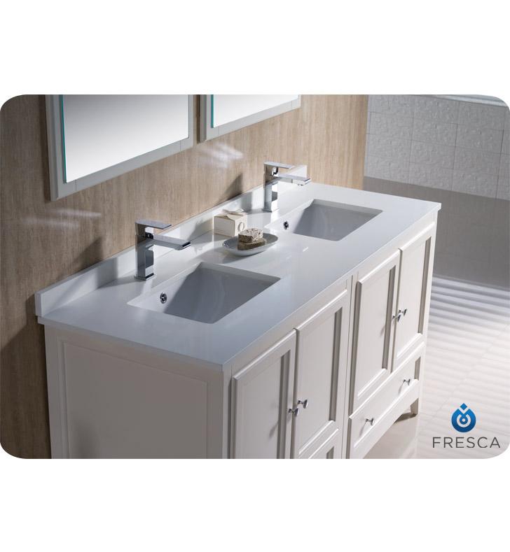 fresca oxford 60 double sink bathroom vanity antique white finish