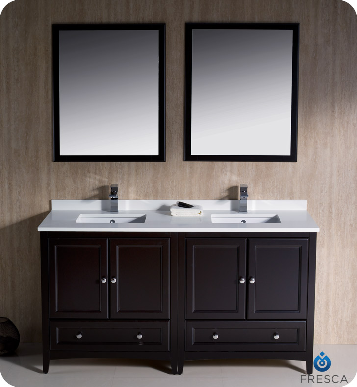 Fresca Oxford Collection 60 Espresso Traditional Double Bathroom Vanity With Top Sink Faucet