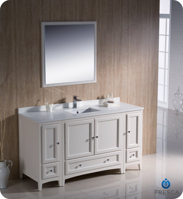 "fresca oxford 60"" traditional bathroom vanity antique white finish"