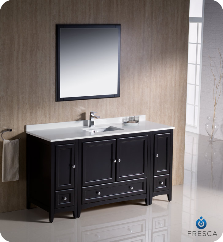 Fresca oxford 60 traditional bathroom vanity espresso for Espresso bathroom ideas