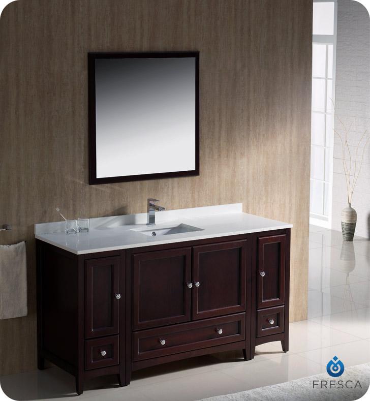 Fresca Oxford 60u0026quot; Traditional Bathroom Vanity Mahogany ...