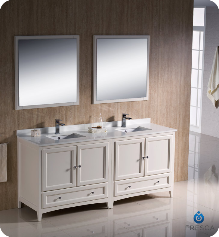 "fresca oxford "" double sink bathroom vanity antique white finish,"