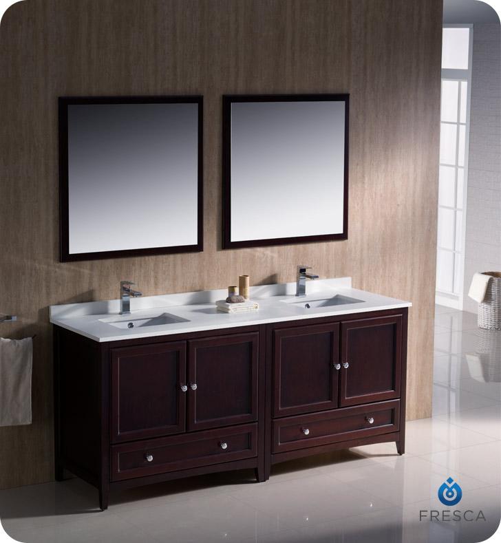 "fresca oxford "" double sink bathroom vanity mahogany finish,"