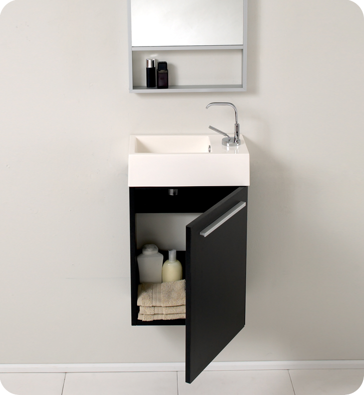 Fresca Pulito 16 Small Black Modern Bathroom Vanity With Faucet Medicine Cabinet And Linen