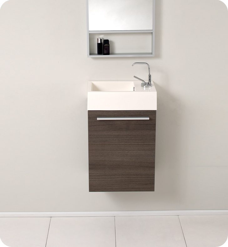 15 Inch Bathroom Vanity fresca pulito small gray oak modern bathroom vanity