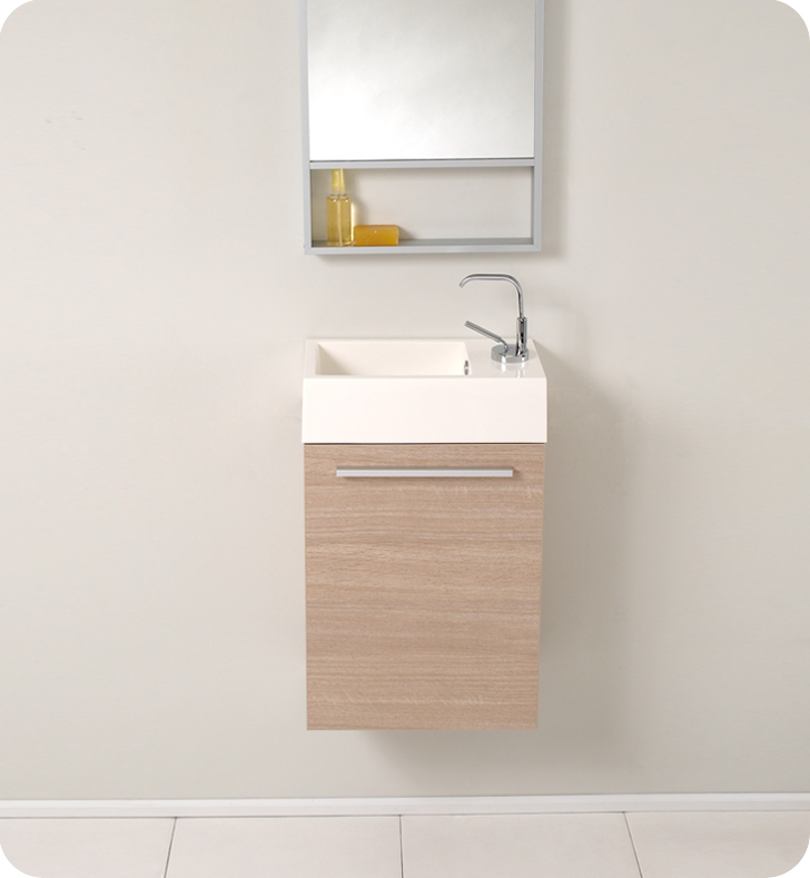 15 Inch Bathroom Vanity fresca pulito light oak modern bathroom vanity