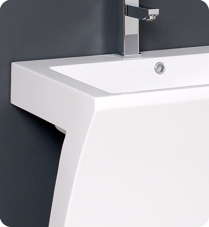 Fresca Quadro Collection 23 White Pedestal Sink Modern Bathroom Vanity With Medicine Cabinet