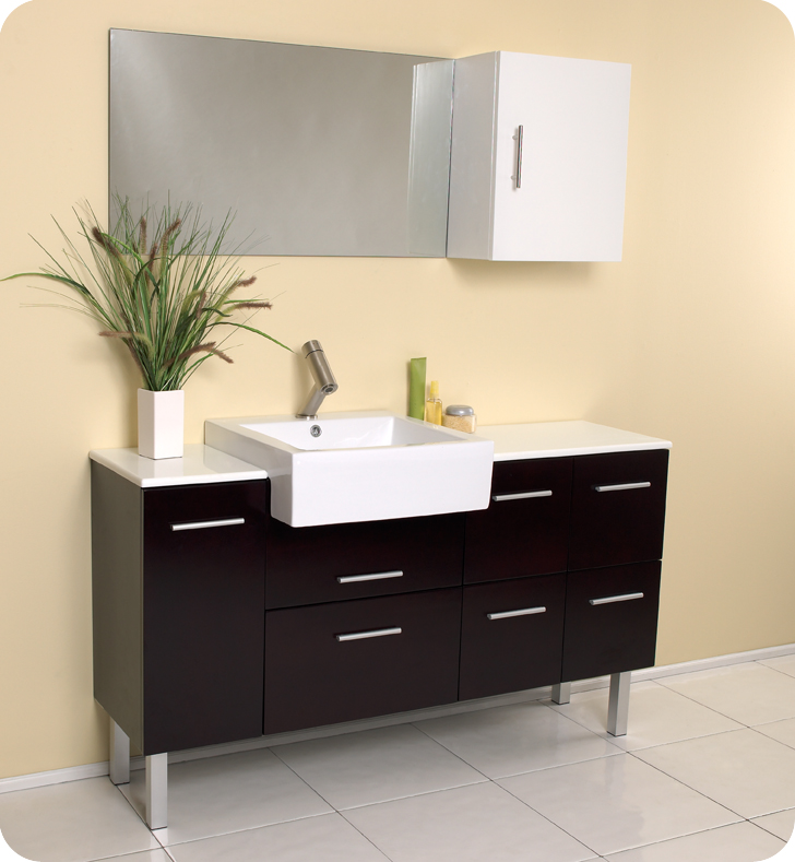 Fresca Serio Espresso Modern Bathroom Vanity With Mirror