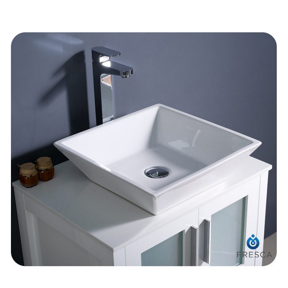 Fresca Torino 24 White Modern Bathroom Vanity Vessel Sink With Faucet And Linen Side Cabinet Option