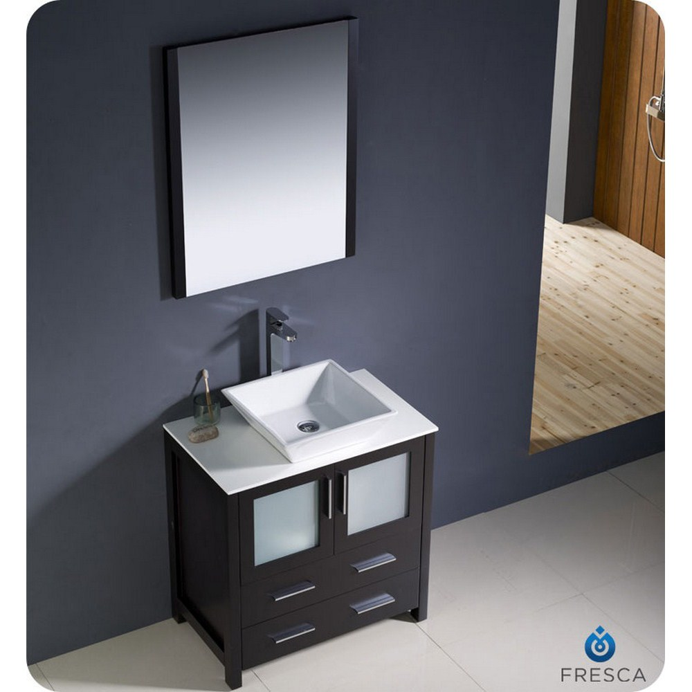 Fresca torino 30 espresso modern bathroom vanity vessel for Modern contemporary bathroom vanities