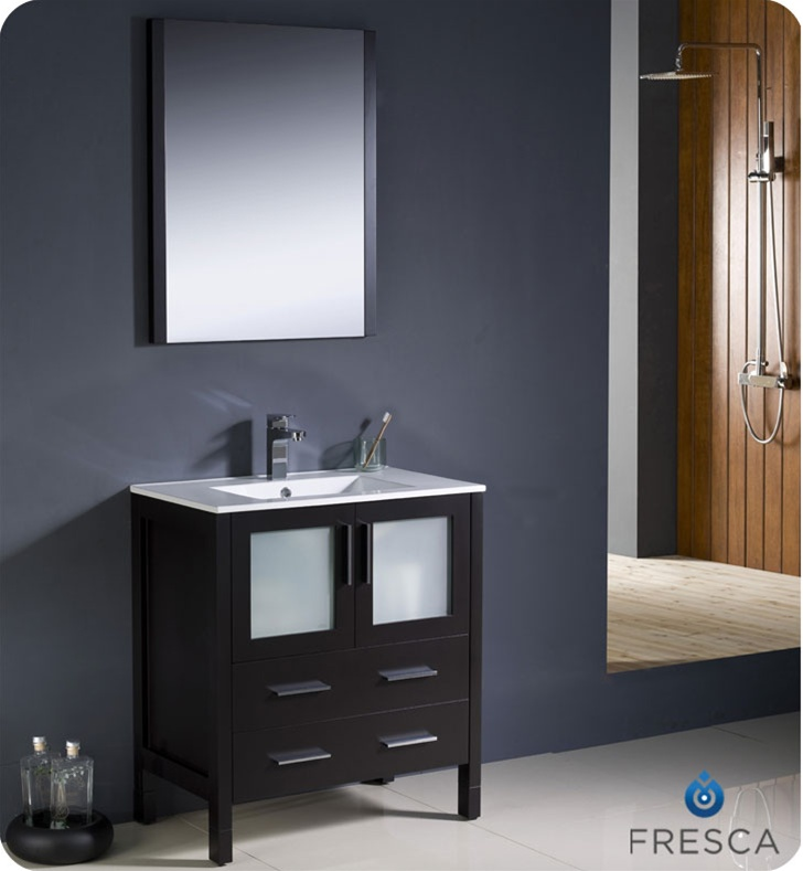 Fresca Torino Espresso Modern Bathroom Vanity With Faucet And - Fresca cristallino glass bathroom vanity