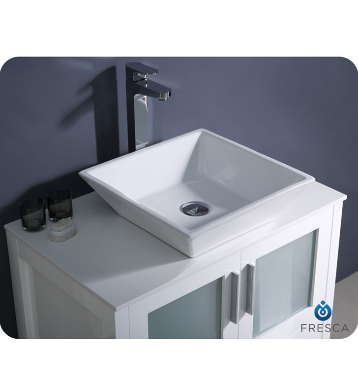 Fresca Torino 30 White Modern Bathroom Vanity Vessel Sink