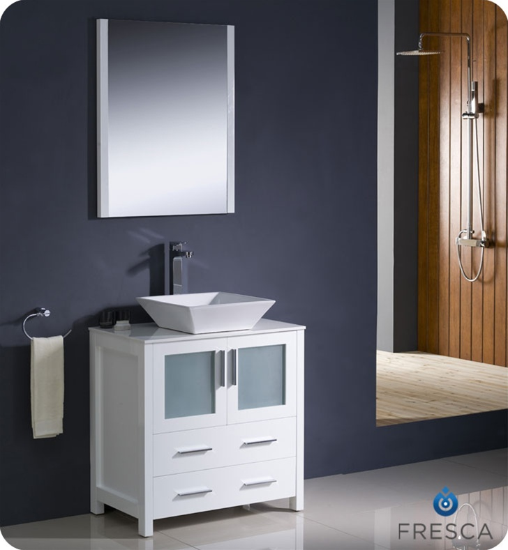 "Modern Bathroom Vanities With Sinks fresca torino 30"" white modern bathroom vanity vessel sink"