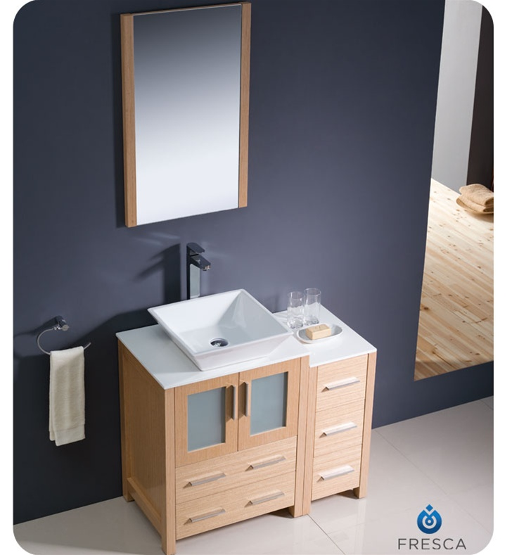 "Fresca Torino 36"" Light Oak Modern Bathroom Vanity Vessel Sink With Faucet And Linen Side Cabinet"
