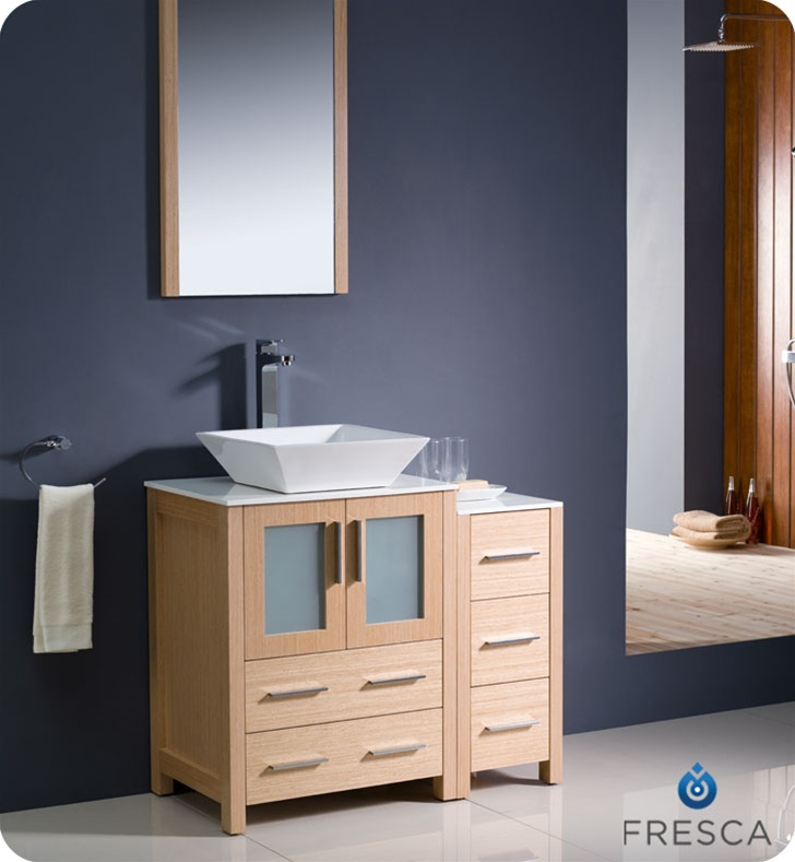 Fresca Torino 36 Light Oak Modern Bathroom Vanity Vessel Sink With Faucet And Linen Side Cabinet