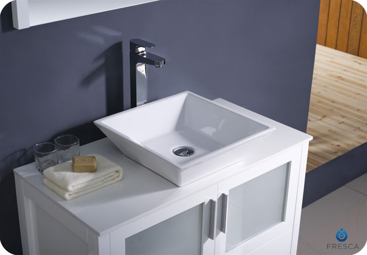white 36 bathroom vanity fresca torino 36 quot white modern bathroom vanity vessel sink 21379