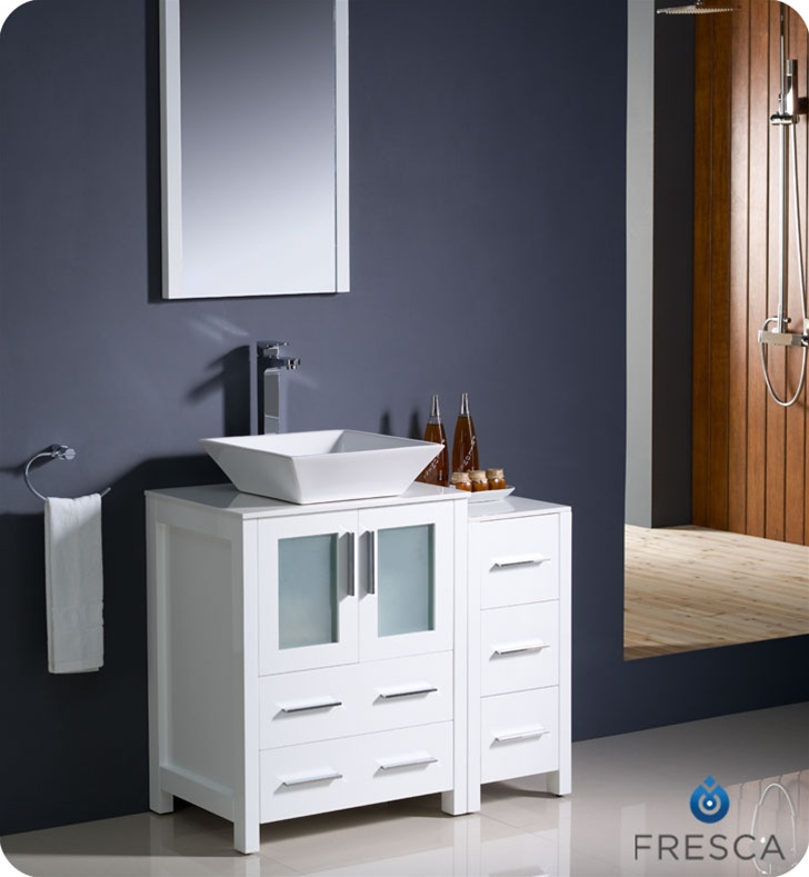 fresca torino 36 white modern bathroom vanity with side