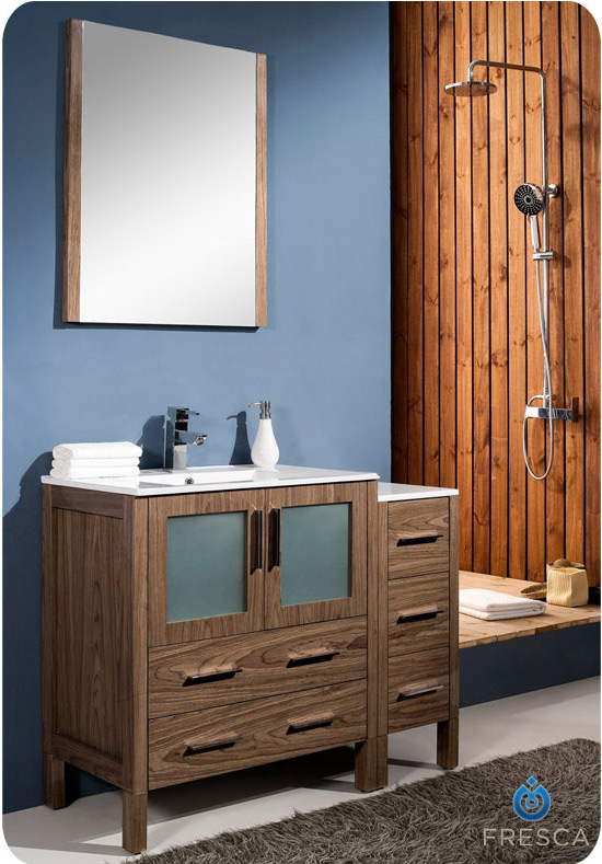 Fresca torino 42 inch walnut modern bathroom vanity with side cabinet