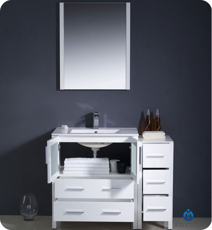 Fresca Torino 42 White Modern Bathroom Vanity With Faucet And Linen