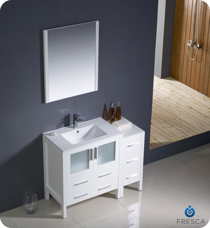 "Fresca Torino 42"" White Modern Bathroom Vanity with Faucet"