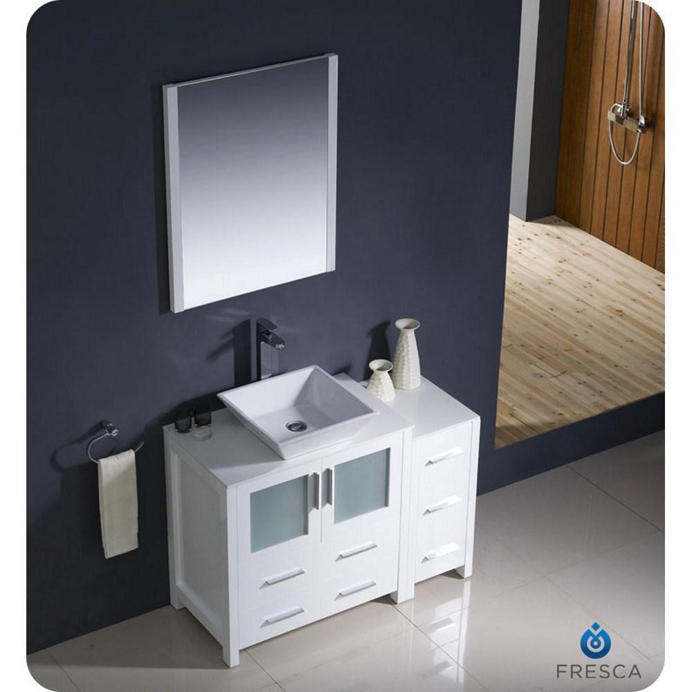Fresca Torino 42 inch White Vessel Sink Bathroom Vanity with Side ...