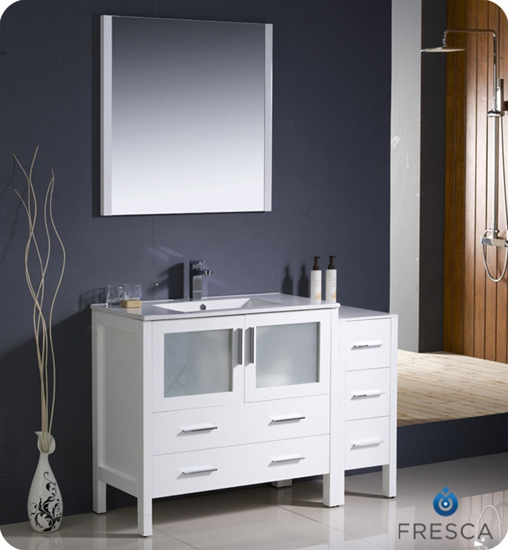 Bathroom mirror dimensions - Fresca Torino 48 Quot White Modern Bathroom Vanity W Side