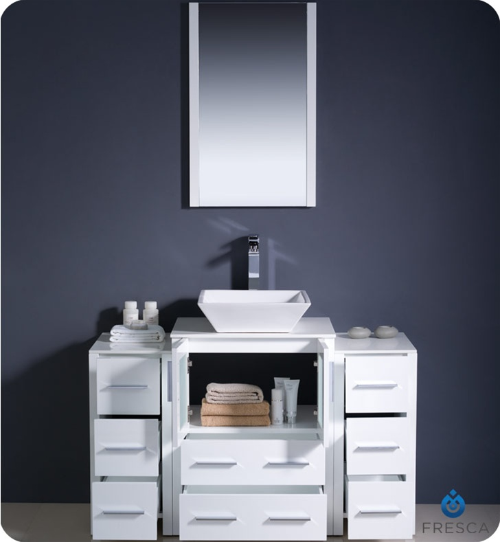 Fresca torino 48 white modern bathroom vanity with two for Bathroom bathroom bathroom