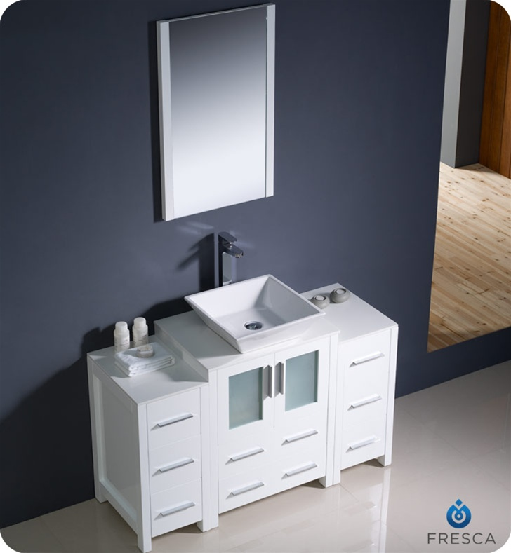 Fresca Torino 48 White Modern Bathroom Vanity With Two Side Cabinets An