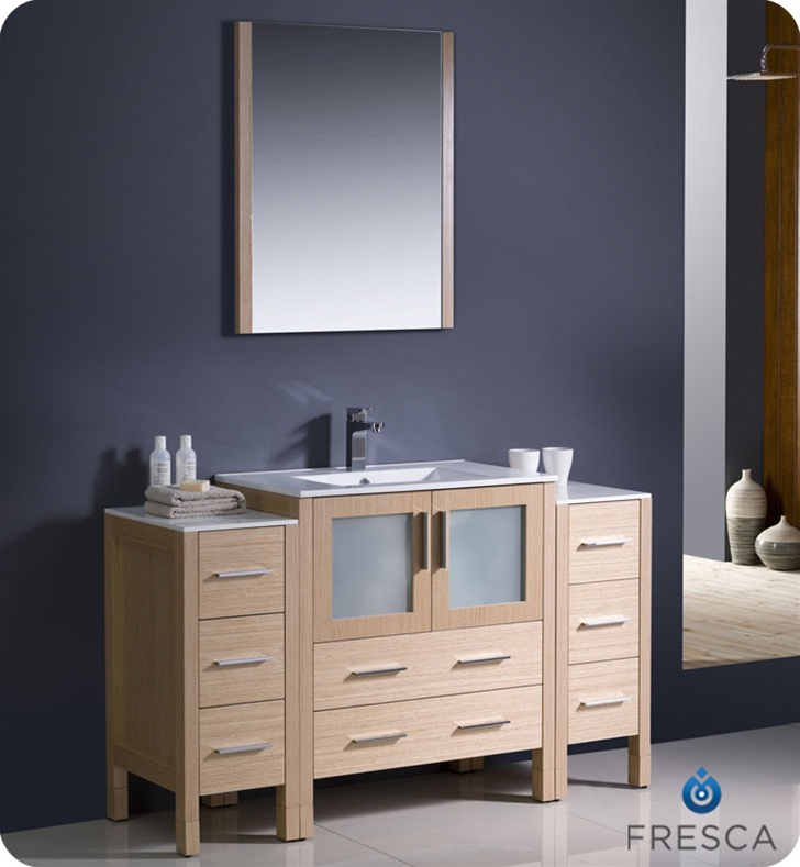 Fresca Torino 54 Modern Bathroom Vanity With Color Faucet And Linen Side Cabinet Option