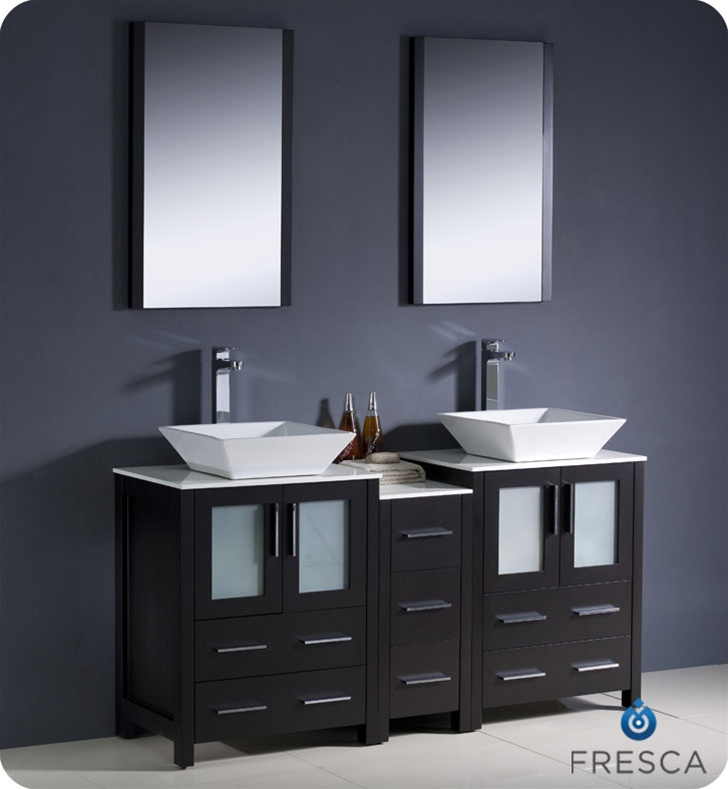 Fresca torino 60 white modern double sink bathroom vanity with vessel sinks - Modern bathroom vanity double sink ...